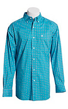 Ariat Men's Turquoise and White Medallion Print Long Sleeve Cavender's Exclusive Western Shirt