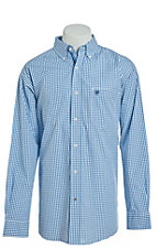 Ariat Men's Ike Teal Grid Print Cavender's Exclusive Long Sleeve Stretch Western Shirt