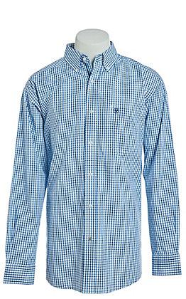 Ariat Men's Blue Plaid Long Sleeve Button Down Western Shirt