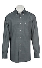 Ariat Men's Cavender's Exclusive Stretch Parton Grey Print L/S Western Shirt - Big & Tall