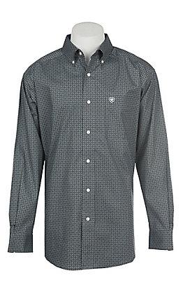 Ariat Men's Cavender's Exclusive Stretch Parton Grey Print L/S Western Shirt - Big & Tall