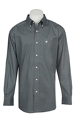 Ariat Men's Cavender's Exclusive Stretch Parton Grey Print L/S Western Shirt