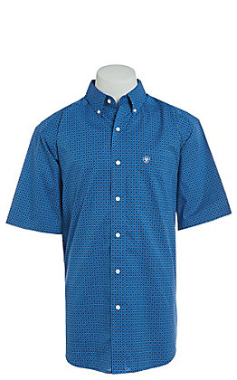 Ariat Men's Parton Blue Geo Print Cavender's Exclusive Stretch Short Sleeve Western Shirt - Big & Tall