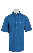 Ariat Men's Parton Blue Geo Print Cavender's Exclusive Stretch Short Sleeve Western Shirt