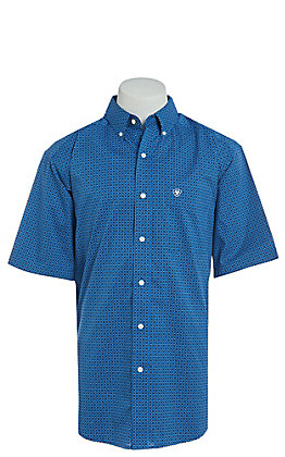 Ariat Men's Parton Blue Geo Print Cavender's Exclusive Stretch Short Sleeve Western Shirt