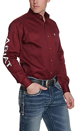 Ariat Men's Cavender's Exclusive Burgundy Team Logo Twill L/S Western Shirt