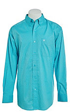 Ariat Men's Milner Turquoise Diamond Print Cavender's Exclusive Stretch Long Sleeve Western Shirt