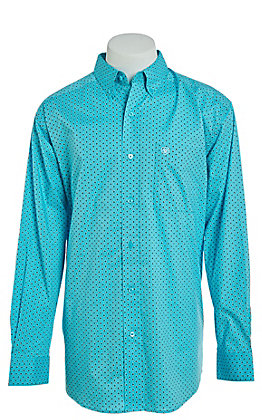Ariat Cavender's Exclusive Men's Turquoise Diamond Print Long Sleeve Western Shirt