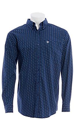 Ariat Men's Trewin Blue & White Geometric Print Long Sleeve Shirt