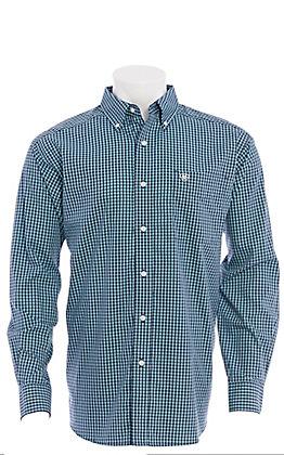 Ariat Men's Blue Checkered Plaid Long Sleeve Western Shirt