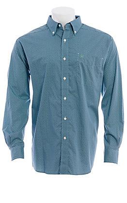 Ariat Men's Wrinkle Free Geo Print Teal/Navy Long Sleeve Western Shirt