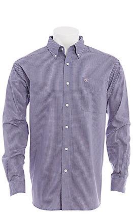 Ariat Men's Purple Mini Plaid Long Sleeve Western Shirt