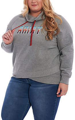 Ariat REAL Women's Grey Serape Logo Pull Over Jacket - Plus Size