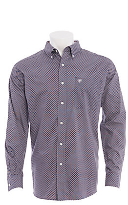 Ariat Men's Purple With Orange Geo Print Long Sleeve Western Shirt
