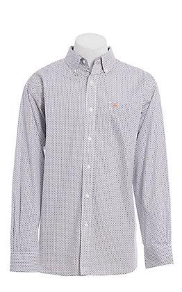 Ariat Men's White Geo Print Wrinkle Free Long Sleeve Western Shirt