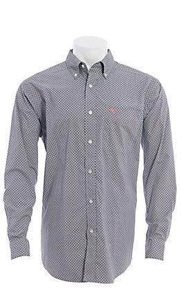Ariat Men's Stretch Grey Medallion Print Long Sleeve Western Shirt