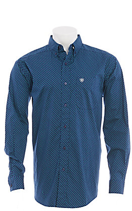 Ariat Men's Navy Blue With Green Geo Print Long Sleeve Western Shirt