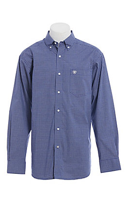Ariat Pro Series Men's Navy Mini Plaid Stretch Long Sleeve Western Shirt