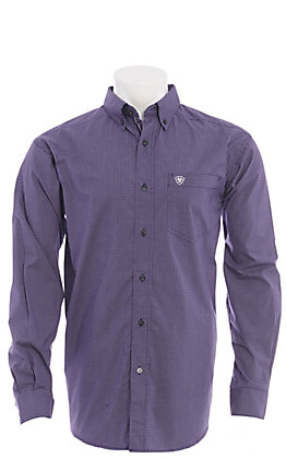 Ariat Men's Purple Mini Plaid Long Sleeve Western Shirt