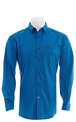 Ariat Pro Series Men's Stretch Teal and Black Plaid Long Sleeve Western Shirt