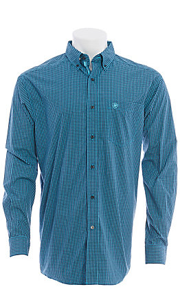 Ariat Pro Series Men's Blue & Black Plaid Long Sleeve Western Shirt