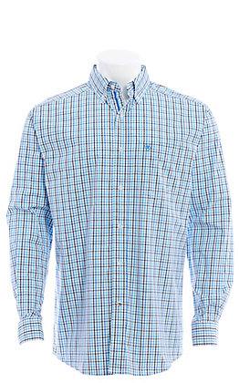 Ariat Pro Series Men's Blue Plaid Long Sleeve Western Shirt