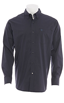 Ariat Men's Black Mini Plaid Long Sleeve Western Shirt