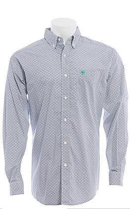 Ariat Men's Randall White Geometric Print Long Sleeve Shirt