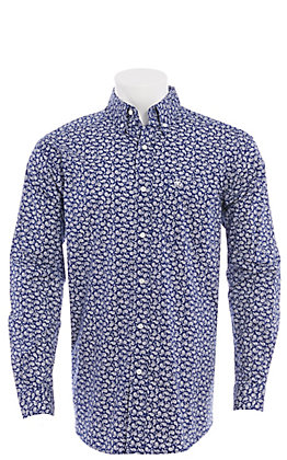 Ariat Men's Navy With White Paisley Print Long Sleeve Western Shirt