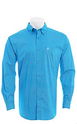 Ariat Men's Blue Medallion Print Long Sleeve Men's Western Shirt