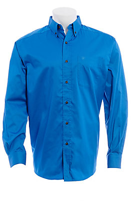 Ariat Men's Solid Blue Twill Long Sleeve Shirt