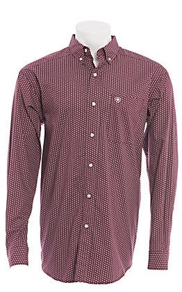 Ariat Men's Maroon Geo Print Long Sleeve Western Shirt