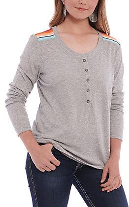 Ariat Women's Real Serape Grey Long Sleeve Henley T-Shirt