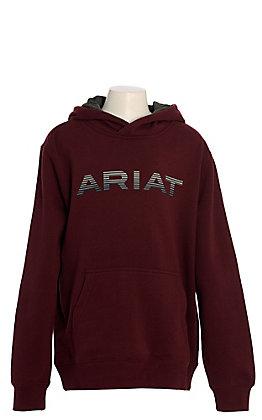 Ariat Boys' Maroon with Grey Logo Hooded Sweatshirt