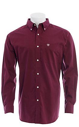 Ariat Men's Wrinkle Free Solid Maroon Long Sleeve Shirt