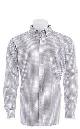 Ariat Men's Wrinkle Free Verner Classic White/Navy/Coral Medallion Long Sleeve Shirt