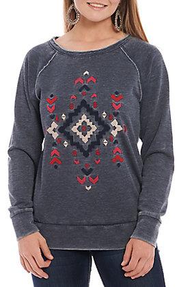 Ariat Women's Grey Aztec Embroidered Pull Over Sweatshirt