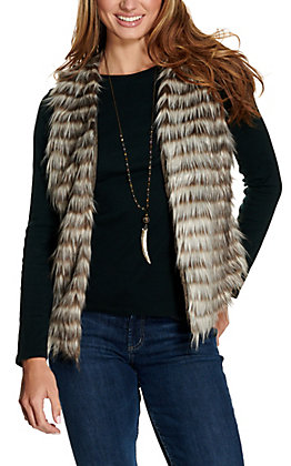 Ariat Women's Scout Cream & Brown Faux Fur Vest