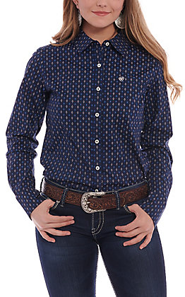 Ariat Women's Navy Geo Print Long Sleeve Western Shirt