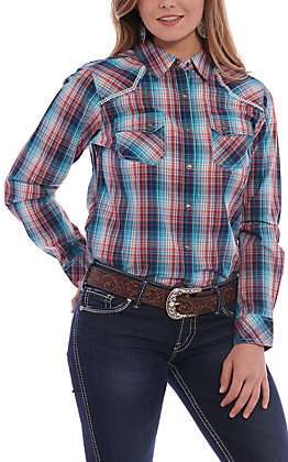 Ariat Women's Turquoise & Red Plaid Long Sleeve Western Shirt