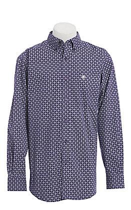 Ariat Men's Purple and White Medallion Print Long Sleeve Western Shirt