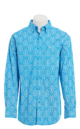 Ariat Men's Blue and White Medallion Print Long Sleeve Western Shirt