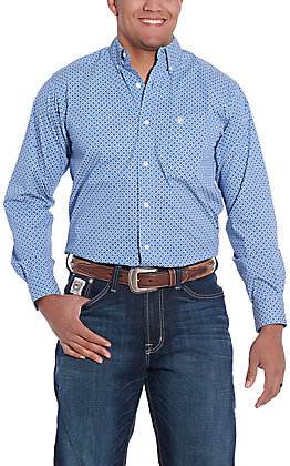 Ariat Men's Bright Cobalt Blue Geo Print Long Sleeve Western Shirt