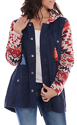 Ariat Women's Harmony Navy with Red Serape Knit Sleeves Jacket