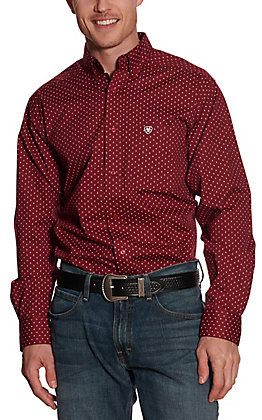 Ariat Men's Stretch Geometric Print Lush Berry Long Sleeve Western Shirt
