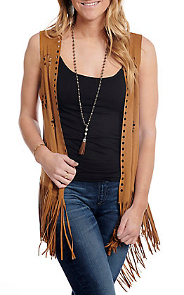 Ariat Women's Shake It Brown Faux Suede Fringe Vest