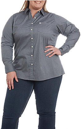 Ariat REAL Women's Kirby Grey with Diamond Print Cavender's Exclusive Long Sleeve Western Shirt - Plus Size