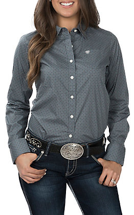 Ariat REAL Women's Kirby Grey with Diamond Print Cavender's Exclusive Long Sleeve Western Shirt