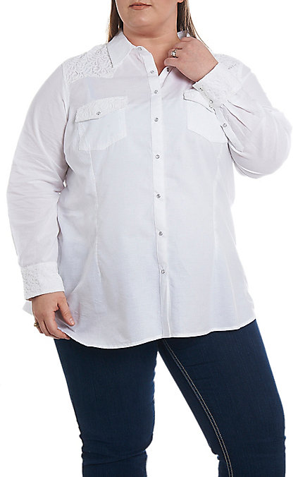 Ariat REAL Cavender\'s Exclusive Women\'s White with Lace Long Sleeve Western  Shirt - Plus Size