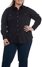 Ariat Women's REAL Cavender's Exclusive Black Long Sleeve Western Shirt - Plus Size
